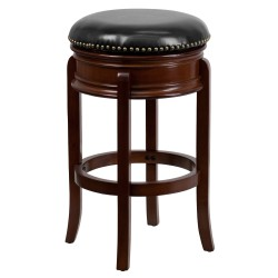 29'' Backless Cherry Wood Bar Stool with Black Leather Swivel Seat