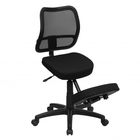Mobile Ergonomic Kneeling Task Chair with Black Curved Mesh Back and Fabric Seat