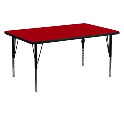 30''W x 60''L Rectangular Activity Table with Red Thermal Fused Laminate Top and Height Adjustable Pre-School Legs