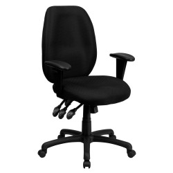 High Back Black Fabric Multi-Functional Ergonomic Task Chair with Arms