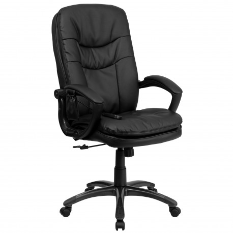Mid-Back Massaging Black Leather Executive Office Chair