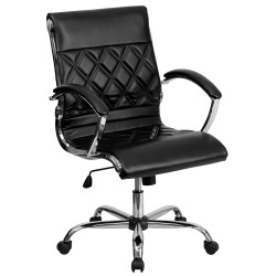 Mid-Back Designer Black Leather Executive Office Chair with Chrome Base