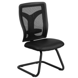 Galaxy Black Mesh Side Chair with Leather Seat and Adjustable Lumbar Support