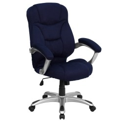 High Back Navy Blue Microfiber Upholstered Contemporary Office Chair