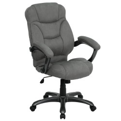 High Back Gray Microfiber Upholstered Contemporary Office Chair