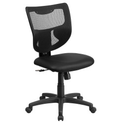 Galaxy Mid-Back Designer Back Task Chair with Padded Leather Seat