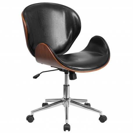Mid-Back Natural Wood Swivel Conference Chair in Black Leather