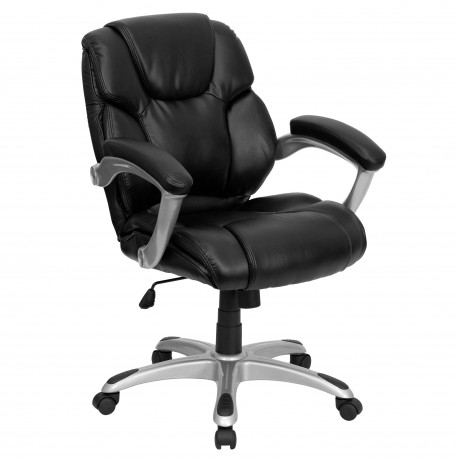 Mid-Back Black Leather Office Task Chair