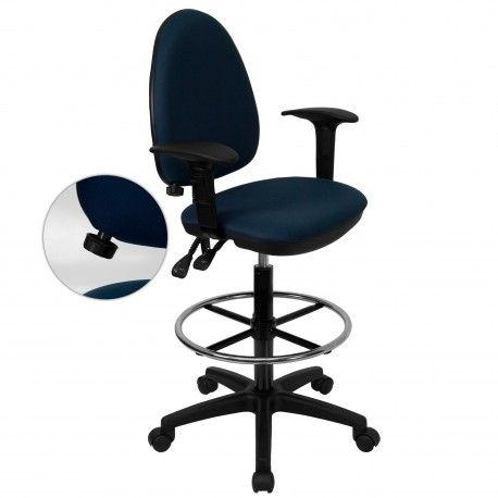 Mid-Back Navy Blue Fabric Multi-Functional Drafting Stool with Arms and Adjustable Lumbar Support