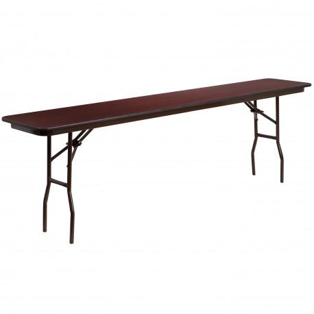 18'' x 96'' Rectangular Walnut Melamine Laminate Folding Training Table