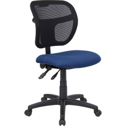 Mid-Back Mesh Task Chair with Navy Blue Fabric Seat