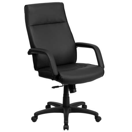 High Back Black Leather Executive Office Chair with Memory Foam Padding