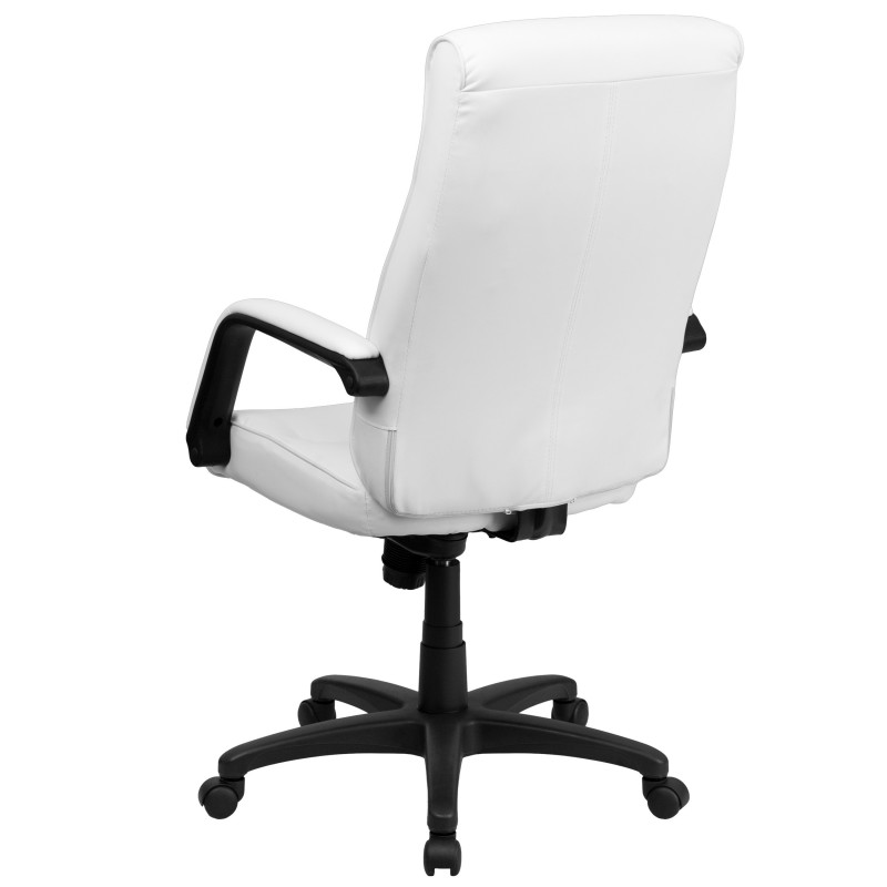 Back White Leather Executive Office Chair with Memory Foam Padding