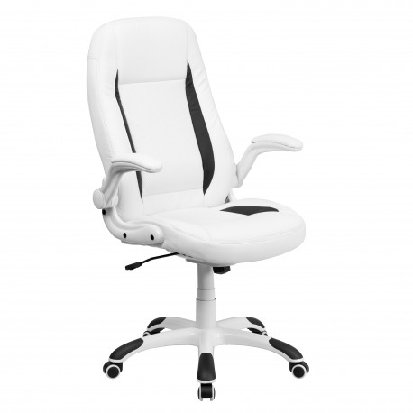 High Back White Leather Executive Office Chair With FlipUp Arms - White leather office chairs