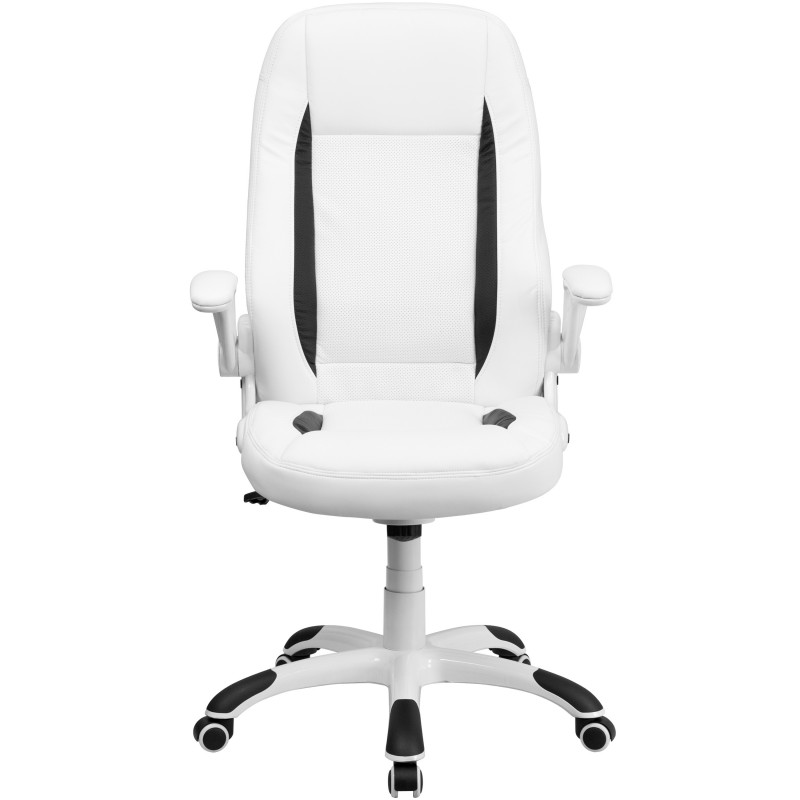 High Back White Leather Executive Office Chair with Flip|Up Arms