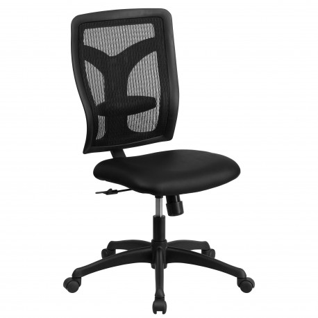 Galaxy High Back Designer Back Task Chair with Padded Leather Seat