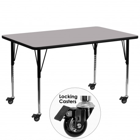 Mobile 30''W x 72''L Rectangular Activity Table with Grey Thermal Fused Laminate Top and Standard Height Adjustable Legs