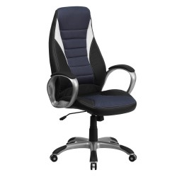 High Back Black Vinyl Executive Office Chair with Blue Mesh Inserts