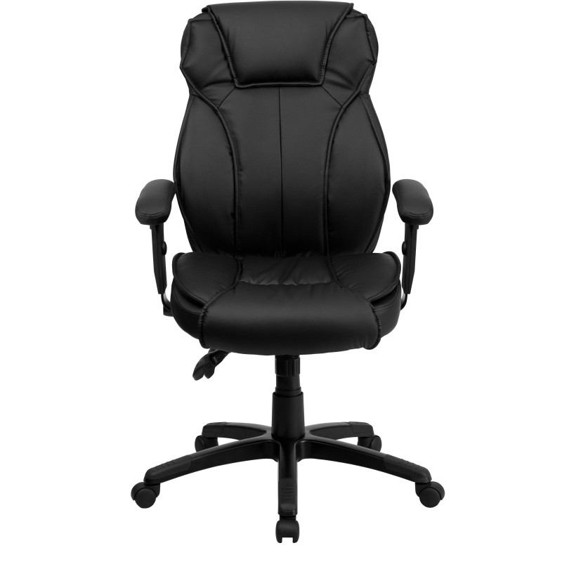 High Back Black Leather Executive Office Chair With Triple Paddle