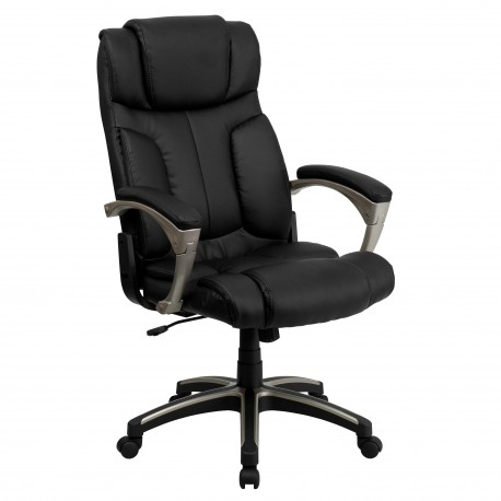 High Back Folding Black Leather Executive Office Chair