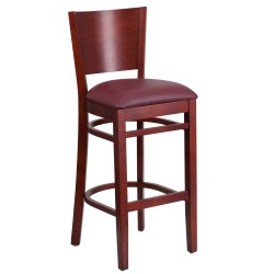 Chimera Collection Solid Back Mahogany Wooden Restaurant Barstool - Burgundy Vinyl Seat