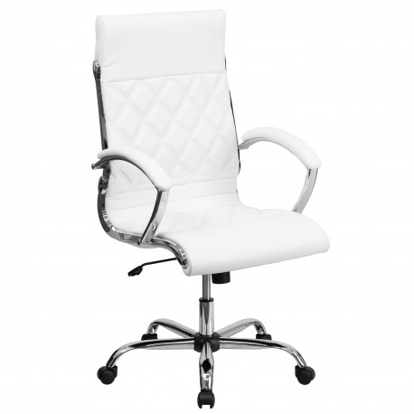 High Back Designer White Leather Executive Office Chair with Chrome Base