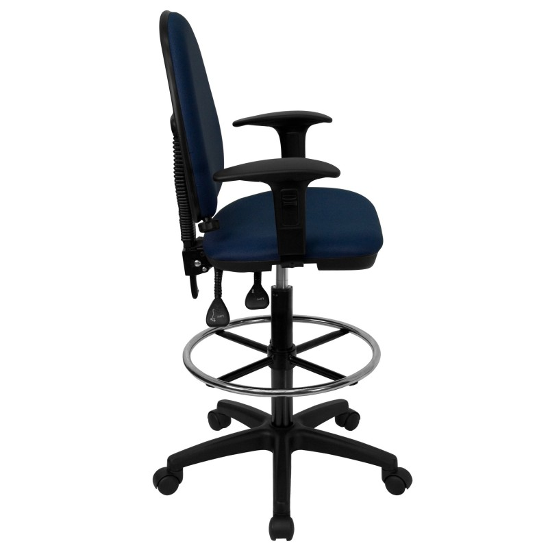 Mid Back Navy Blue Fabric Multi Functional Drafting Stool With Arms And Adjus