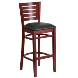 Fervent Collection Slat Back Mahogany Wooden Restaurant Barstool - Black Vinyl Seat