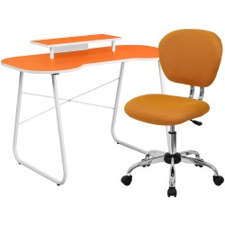 Orange Computer Desk with Monitor Platform and Mesh Chair