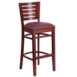 Fervent Collection Slat Back Mahogany Wooden Restaurant Barstool - Burgundy Vinyl Seat