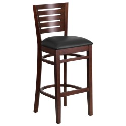 Fervent Collection Slat Back Walnut Wooden Restaurant Barstool - Black Vinyl Seat