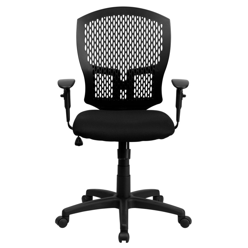 Mid Back Designer Back Task Chair With Padded Fabric Seat And Arms