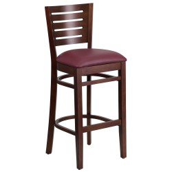 Fervent Collection Slat Back Walnut Wooden Restaurant Barstool - Burgundy Vinyl Seat
