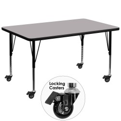 Mobile 24''W x 48''L Rectangular Activity Table with Grey Thermal Fused Laminate Top and Height Adjustable Pre-School Legs