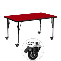 Mobile 24''W x 48''L Rectangular Activity Table with Red Thermal Fused Laminate Top and Height Adjustable Pre-School Legs