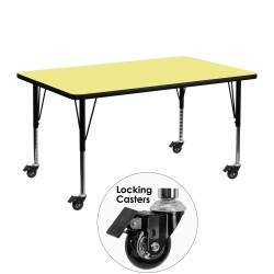 Mobile 24''W x 48''L Rectangular Activity Table with Yellow Thermal Fused Laminate Top and Height Adjustable Pre-School Legs