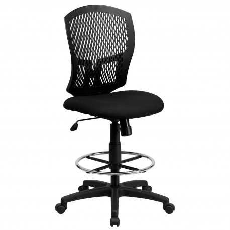 Mid-Back Designer Back Drafting Stool with Padded Fabric Seat