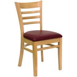 Natural Wood Finished Ladder Back Wooden Restaurant Chair - Burgundy Vinyl Seat