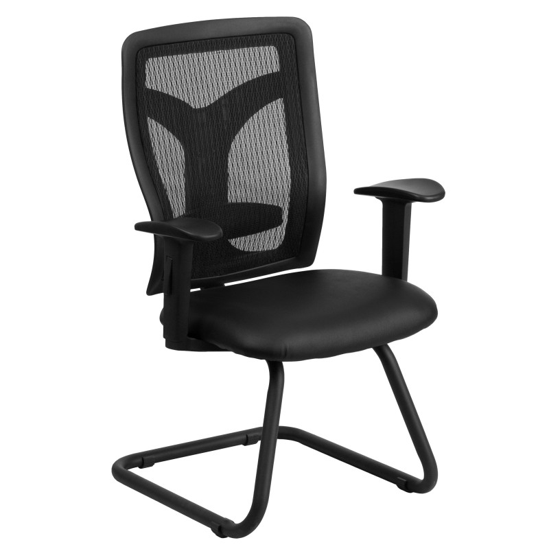 black mesh side arm chair with leather seat and adjustable lumbar