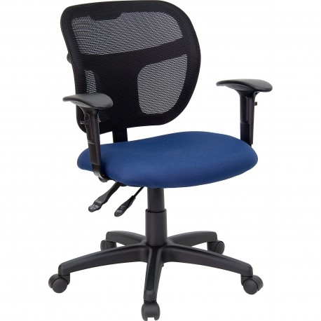 Mid-Back Mesh Task Chair with Navy Blue Fabric Seat and Arms