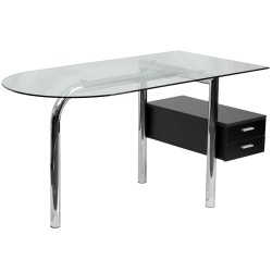 Glass Computer Desk with Two Drawer Pedestal