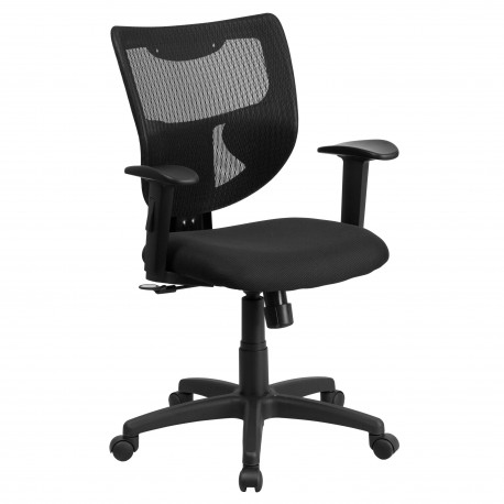Galaxy Mid-Back Designer Back Task Chair with Adjustable Height Arms and Padded Fabric Seat