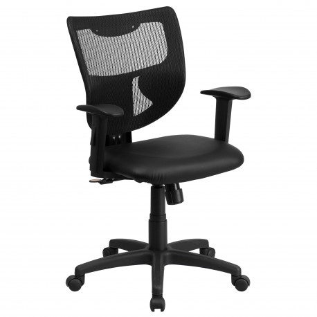 Galaxy Mid-Back Designer Back Task Chair with Adjustable Height Arms and Padded Leather Seat