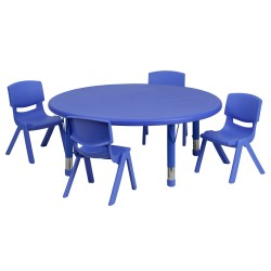 45'' Round Adjustable Blue Plastic Activity Table Set with 4 School Stack Chairs