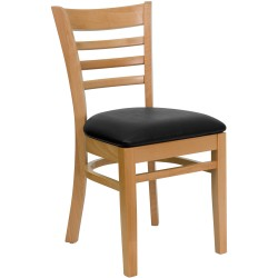 Natural Wood Finished Ladder Back Wooden Restaurant Chair - Black Vinyl Seat