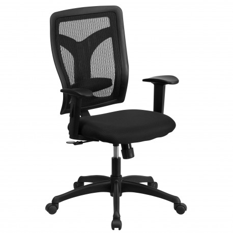 Galaxy High Back Designer Back Task Chair with Adjustable Height Arms and Padded Fabric Seat