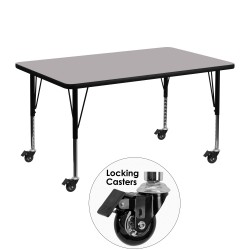 Mobile 30''W x 48''L Rectangular Activity Table with Grey Thermal Fused Laminate Top and Height Adjustable Pre-School Legs