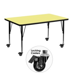 Mobile 30''W x 48''L Rectangular Activity Table with Yellow Thermal Fused Laminate Top and Height Adjustable Pre-School Legs