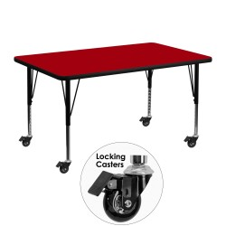 Mobile 30''W x 48''L Rectangular Activity Table with Red Thermal Fused Laminate Top and Height Adjustable Pre-School Legs
