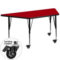 Mobile 30''W x 60''L Trapezoid Activity Table with Red Thermal Fused Laminate Top and Height Adjustable Pre-School Legs